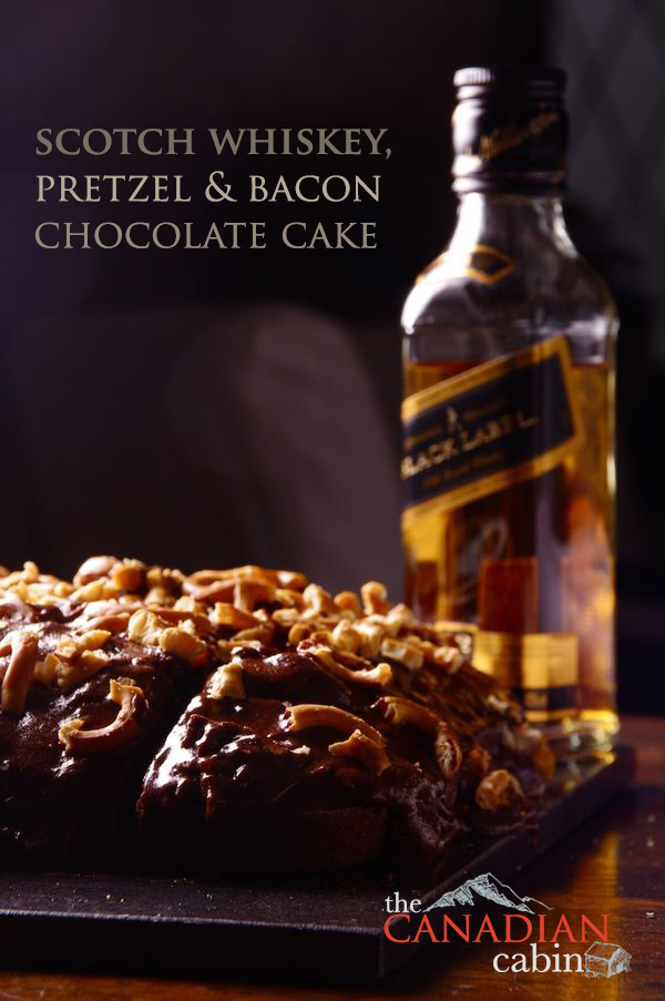 Scotch Whiskey, Pretzel and Bacon Chocolate Cake